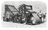 "19-th century illustration of the Walter press, the pioneer of modern newspaper printing-presses. Published in ""Novoveki Izumi u znanosti, obrtu i umjetnosti"" by dr. Bogoslav Sulek, dr. Mijo Kispatic"