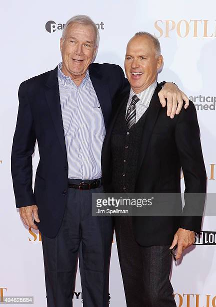 Walter Robinson and actor Michael Keaton attend the 'Spotlight' New York premiere at Ziegfeld Theater on October 27 2015 in New York City
