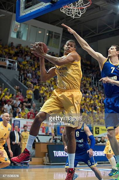 Walter Tavares #22 of Herbalife Gran Canaria Las Palmas captures a rebound during the Eurocup Basketball Final game 2 between Khimki Moscow Region v...
