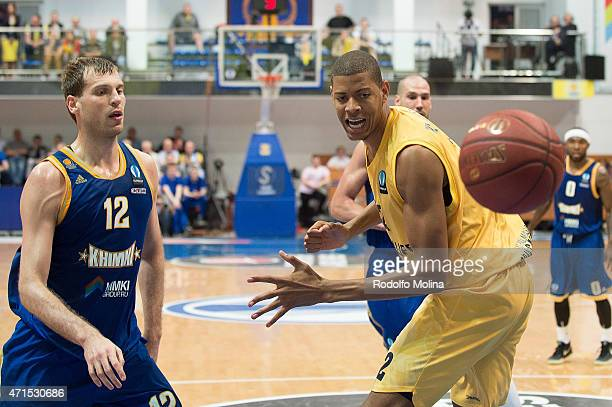 Walter Tavares #22 of Herbalife Gran Canaria Las Palmas competes with Sergey Monia #12 of Khimki Moscow Region during the game 2 between Khimki...
