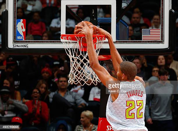 Walter Tavares of the Atlanta Hawks dunks against the Miami Heat at Philips Arena on October 18 2015 in Atlanta Georgia NOTE TO USER User expressly...