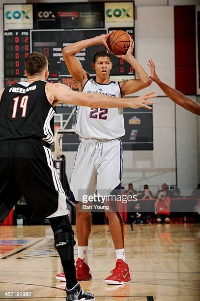 Walter Tavares of the Atlanta Hawks handles the ball against the Portland Trail Blazers during the Samsung NBA Summer League 2014 on July 15 2014 at...