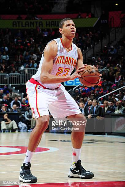 Walter Tavares of the Atlanta Hawks prepares to shoot against the New York Knicks during the game on January 5 2016 at Philips Arena in Atlanta...