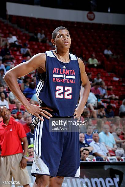 Walter Tavares of the Atlanta Hawks stands on the court during a game against the Washington Wizards at the Samsung NBA Summer League 2014 on July 12...