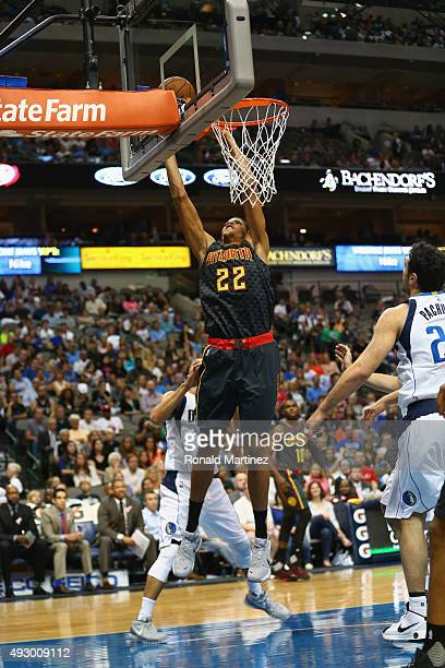 Walter Tavares of the Atlanta Hawks takes a shot against the Dallas Mavericks during a preseason game at American Airlines Center on October 16 2015...