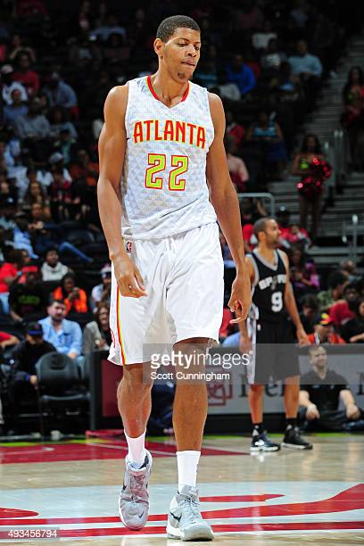 Walter Tavares of the Atlanta Hawks walks up court against the San Antonio Spurs during a preseason game on October 14 2015 at Philips Arena in...