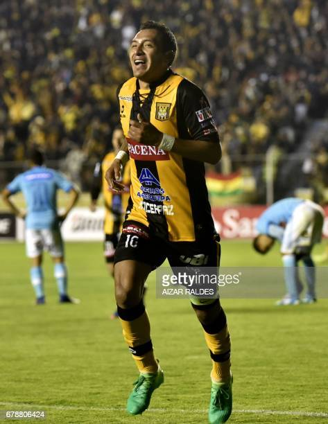 Walter Veizaga of Bolivia's The Strongest celebrates after scoring against Peru's Sporting Cristal during their Copa Libertadores match at Hernando...