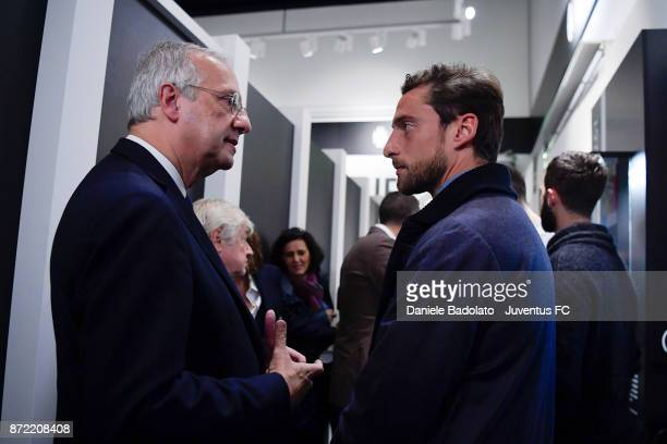 Walter Veltroni and Claudio Marchisio during the Juventus 120 Years Exhibition Opening at Juventus Museum on November 9 2017 in Turin Italy