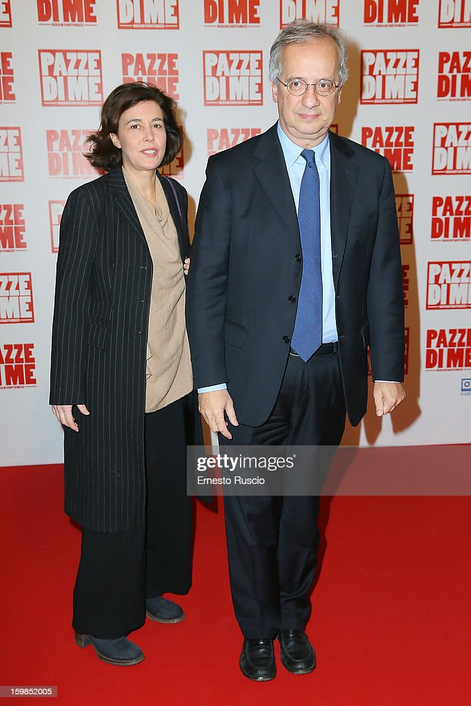 Walter Veltroni and his wife Flavia attend the 'Pazze di Me' premiere at Teatro Sistina on January 21, 2013 in Rome, Italy.