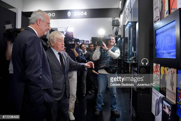 Walter Veltroni and Paolo Garimberti during the Juventus 120 Years Exhibition Opening at Juventus Museum on November 9 2017 in Turin Italy