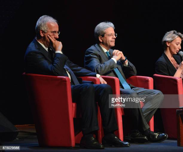 Walter Veltroni and Paolo Gentiloni during presentation of the book 'Quando' by Walter Veltroni at Auditorium Rome on november 16 2017