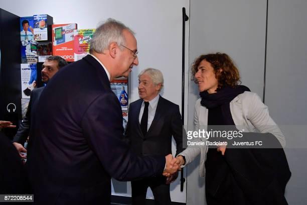 Walter Veltroni and Rita Guarino during the Juventus 120 Years Exhibition Opening at Juventus Museum on November 9 2017 in Turin Italy