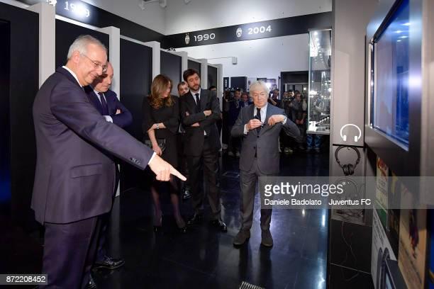 Walter Veltroni Giuseppe Marotta Deniz Akalin Andrea Agnelli and Paolo Garimberti during the Juventus 120 Years Exhibition Opening at Juventus Museum...
