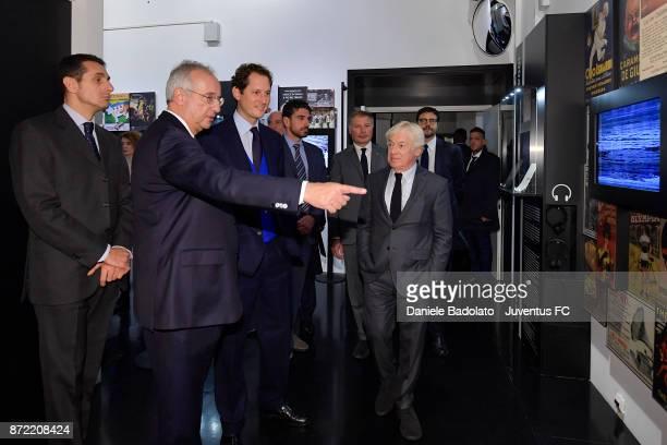 Walter Veltroni John Elkann and Paolo Garimberti during the Juventus 120 Years Exhibition Opening at Juventus Museum on November 9 2017 in Turin Italy
