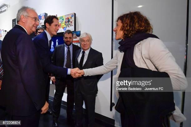 Walter Veltroni John Elkann Paolo Garimberti and Rita Guarino during the Juventus 120 Years Exhibition Opening at Juventus Museum on November 9 2017...