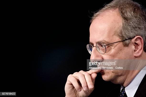 Walter Veltroni leader of leftwing Democratic Party attends the Italian political debate show Porta a Porta at Rai's broadcast studios