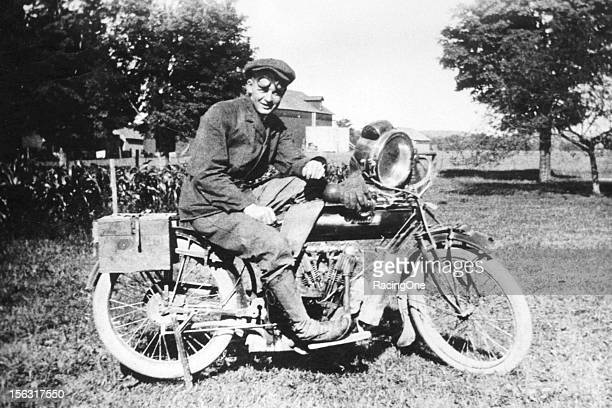 Walter Wright aboard a 2speed Indian motorcycle Indian motorcycles were manufactured from 1901 to 1953 by a company in Springfield MA initially known...