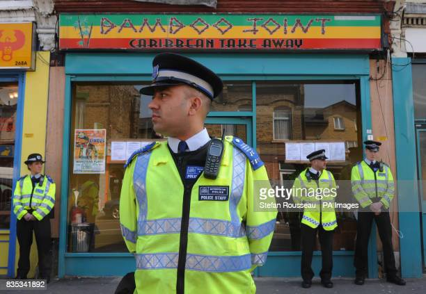 Waltham Forest Council enforcement officers serve a closure order to fast food outlet Bamboo Joint in Leytonstone east London for setting up too...