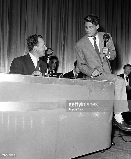 1954 Walthamstow London Radio Luxembourg Disc Jockey Peter Murray is pictured broadcasting on stage at the Granada Cinema with Les Barker