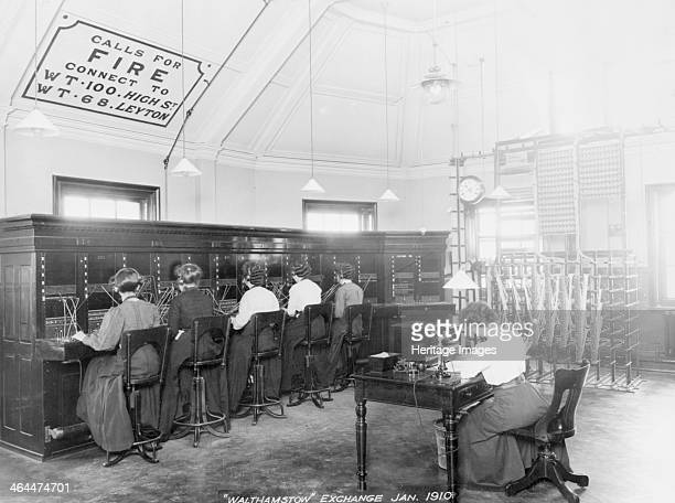 Walthamstow Telephone exchange London 1910 Female telephonists at the switchboard On the wall are instructions concerning calls for the fire brigade...