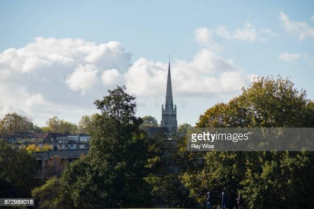 Walthamstow Wetlands - nearby church spire