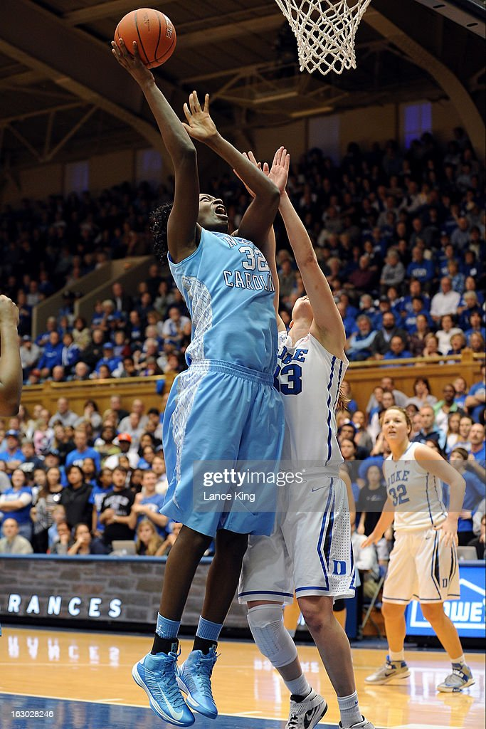 Waltiea Rolle #32 of the North Carolina Tar Heels puts up a shot against Haley Peters #33 of the Duke Blue Devils at Cameron Indoor Stadium on March 3, 2013 in Durham, North Carolina. Duke defeated North Carolina 65-58.