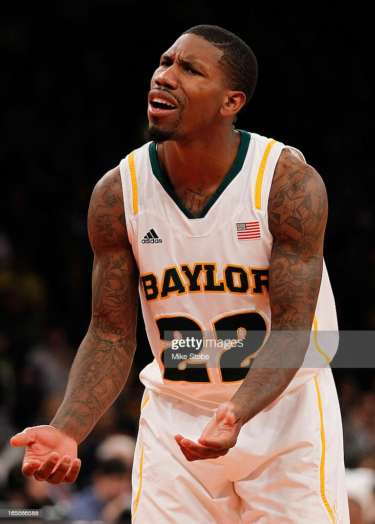 A.J. Walton #22 of the Baylor Bears reacts during action against the Iowa Hawkeyes during the 2013 NIT Championship at Madison Square Garden on April 4, 2013 in New York City. Baylor defeated Iowa 74-54.