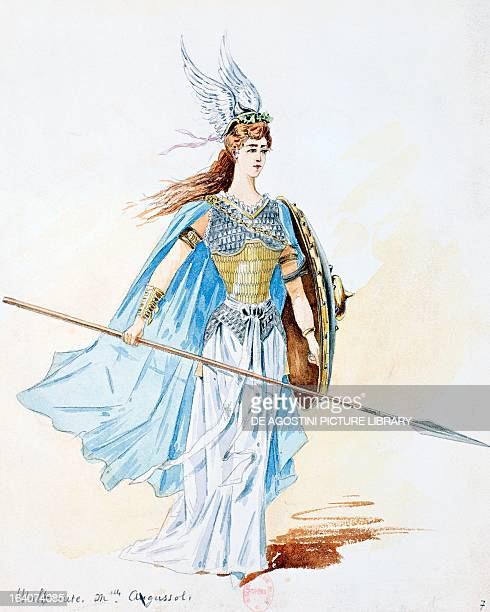 Waltraute costume sketch created by Charles Bianchini for a performance of The Valkyrie from The Ring of the Nibelung cycle by Richard Wagner at the...
