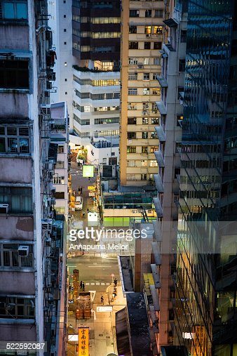 Wan Chai street view from above, Hong Kong