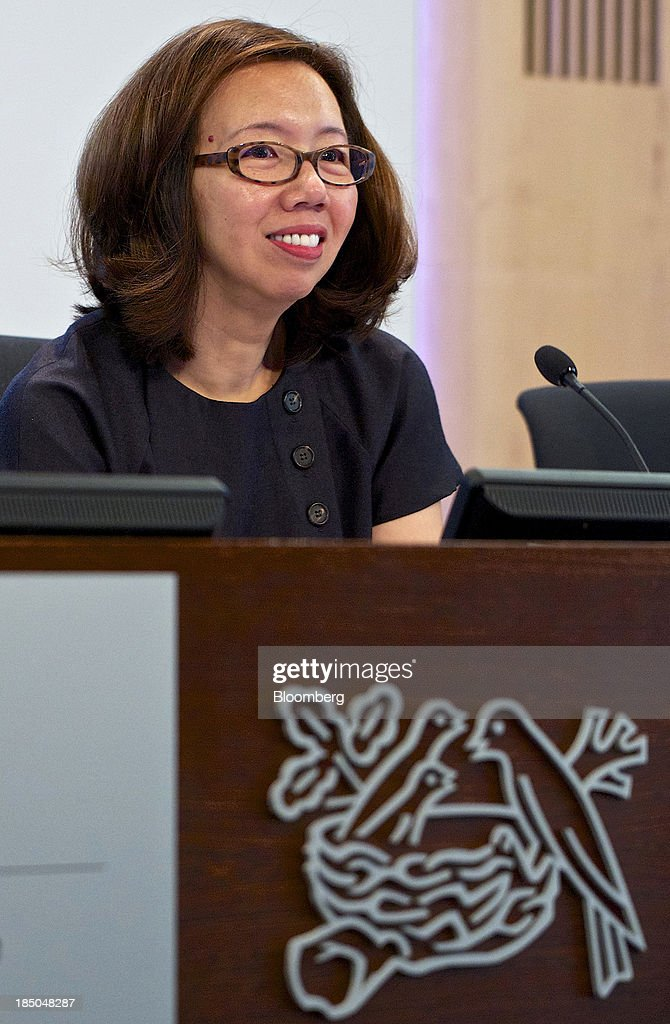 Wan Ling Martello, chief financial officer of Nestle SA, reacts during a news conference to announce the company's results in Vevey, Switzerland, on Thursday, Oct. 17, 2013. Nestle SA, the world's biggest food company, reported nine-month sales that were below its full-year target rate, highlighting the difficult environment faced by the makers of consumer products. Photographer: Gianluca Colla/Bloomberg via Getty Images