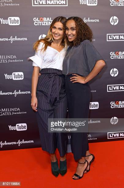Wana Limar and Hadnet Tesfai attend the Global Citizen Festival at the Barclaycard Arena on July 6 2017 in Hamburg Germany