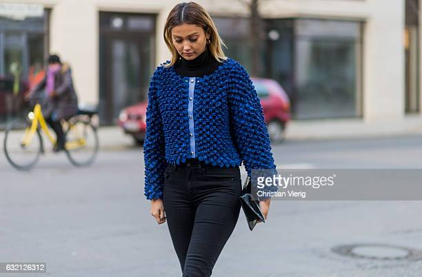 Wana Limar wearing a blue jacket at Marina Hoermanseder during the MercedesBenz Fashion Week Berlin A/W 2017 at Kaufhaus Jandorf on January 19 2017...