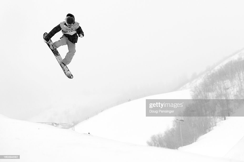 Wancheng Shi of China competes in the semi-finals of the FIS Snowboard Halfpipe World Cup at the Sprint U.S. Grand Prix at Park City Mountain on January 30, 2013 in Park City, Utah.