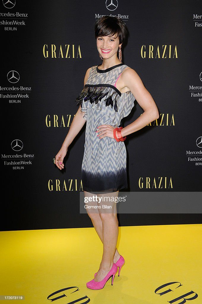 <a gi-track='captionPersonalityLinkClicked' href=/galleries/search?phrase=Wanda+Badwal&family=editorial&specificpeople=5590178 ng-click='$event.stopPropagation()'>Wanda Badwal</a> attends the Mercedes-Benz Fashion Week Berlin Spring/Summer 2014 Preview Show by Grazia at the Brandenburg Gate on July 1, 2013 in Berlin, Germany.