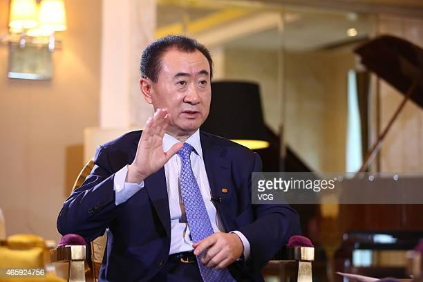 Wanda Group chairman Wang Jianlin has a dialogue with TCL chairman Li Dongsheng at Sofitel Wanda on March 11 2015 in Beijing China Wanda Group...