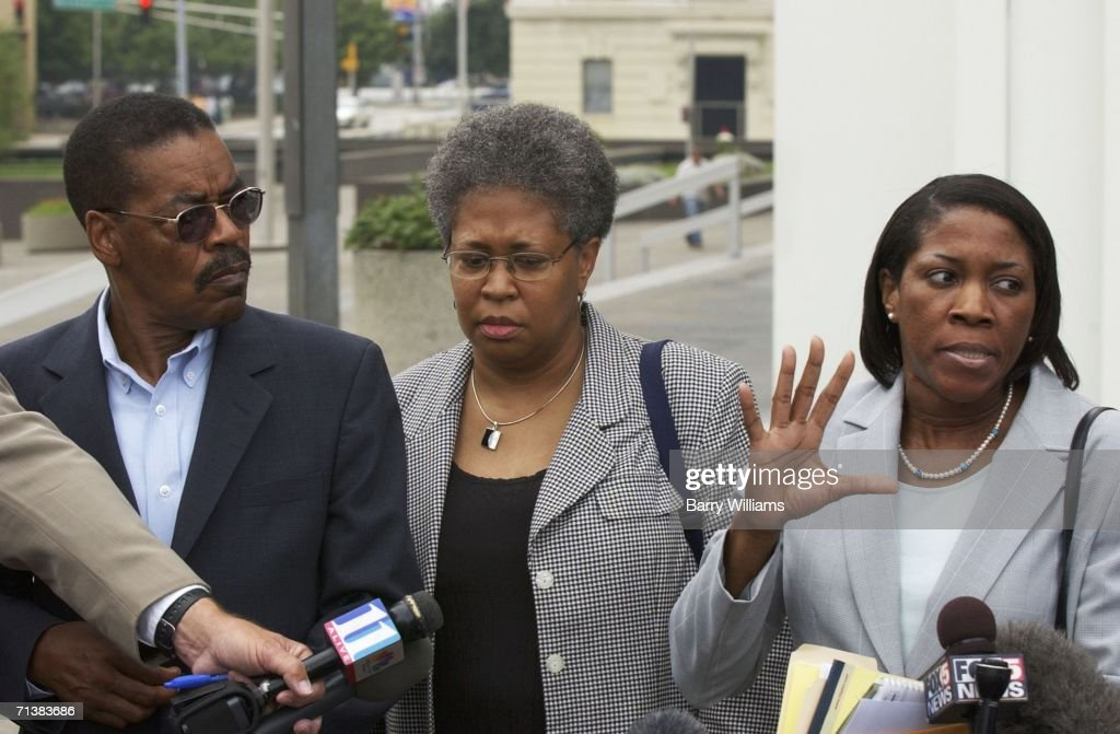 Wanda Jackson Attorney to Joya Williams who is accused of stealing trade secrets speaks to the media outside the Richard Russell Federal Building as...