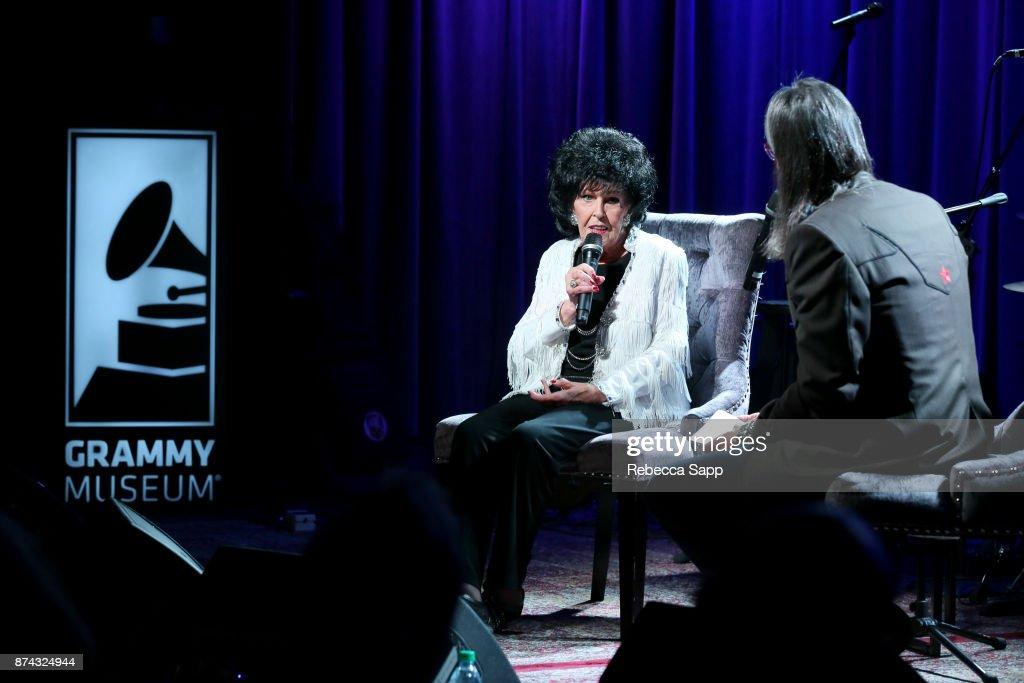 Wanda Jackson speaks with GRAMMY Museum Executive Director Scott Goldman at An Evening With Wanda Jackson on November 14, 2017 at the GRAMMY Museum in Los Angeles, California.