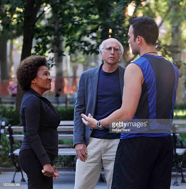 Wanda Sykes Larry David and Cheyenne Jackson on location for 'Curb Your Enthusiasm' on the streets of Manhattan on July 2 2010 in New York City