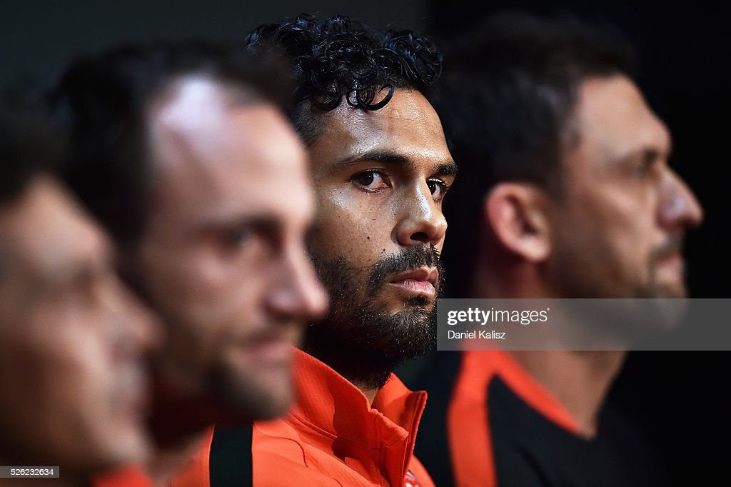 Wanderers captain Nikolai Topor-Stanley speaks to the media during the A-League Grand Final press conference at Coopers Stadium on April 30, 2016 in Adelaide, Australia.