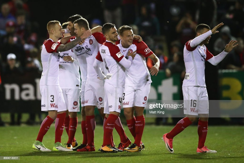 Wanderers celebrate victory in the penalty shoot out during the FFA Cup Quarterfinal match between Blacktown City and the Western Sydney Wanderers at Lily Football Centre on September 20, 2017 in Sydney, Australia.