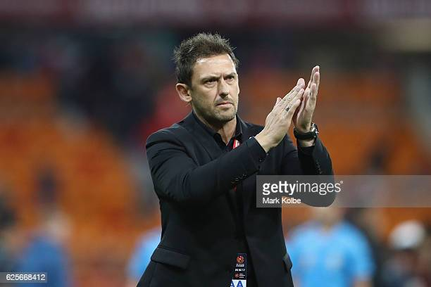 Wanderers coach Tony Popovic applauds the crowd after the round eight ALeague match between the Western Sydney Wanderers and the Brisbane Roar at...