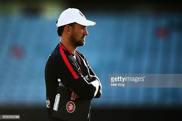 Wanderers coach Tony Popovic looks on during a Western Sydney Wanderers ALeague training session at Pirtek Stadium on April 28 2016 in Sydney...