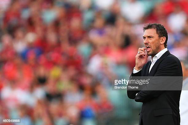 Wanderers coach Tony Popovic looks on during the round 14 ALeague match between the Western Sydney Wanderers and the Central Coast Mariners at Pirtek...