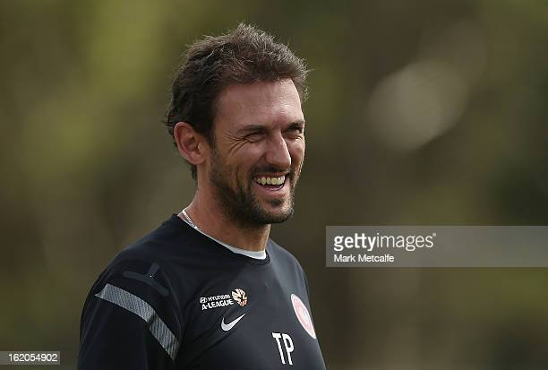 Wanderers coach Tony Popovic smiles during a Western Sydney Wanderers ALeague training session at Blacktown International Sportspark on February 19...