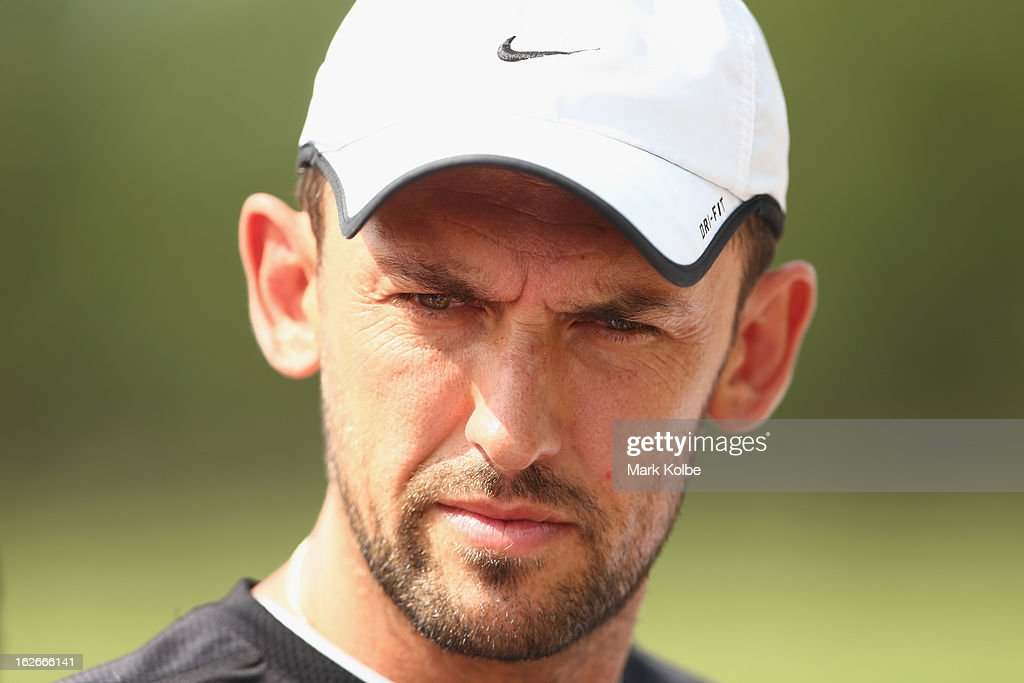 Wanderers coach <a gi-track='captionPersonalityLinkClicked' href=/galleries/search?phrase=Tony+Popovic&family=editorial&specificpeople=213704 ng-click='$event.stopPropagation()'>Tony Popovic</a> speaks to the media during a Western Sydney Wanderers A-League training session at Blacktown International Sportspark on February 26, 2013 in Sydney, Australia.