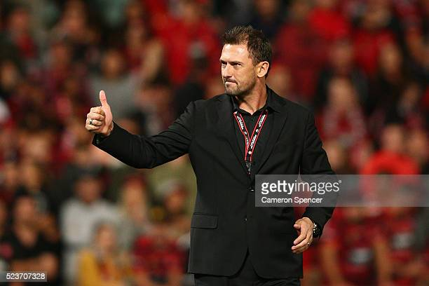 Wanderers coach Tony Popovic thanks fans after winning the ALeague Semi Final match in extra time between the Western Sydney Wanderers and the...