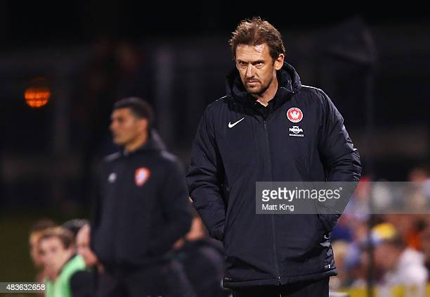 Wanderers coach Tony Popovic watches on during the FFA Cup match between Western Sydney Wanderers and Brisbane Roar at Pepper Stadium on August 11...