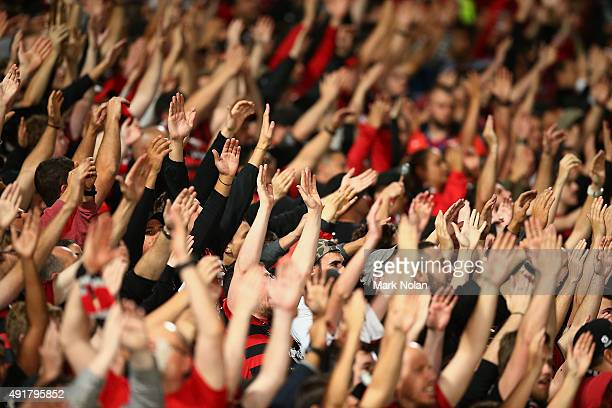 Wanderers fans are pictured during the round one ALeague match between the Western Sydney Wanderers and the Brisbane Roar at Pirtek Stadium on...