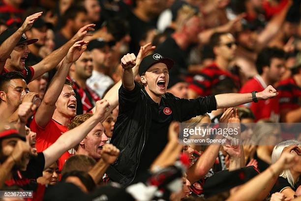 Wanderers fans celebrate a goal during the ALeague Semi Final match between the Western Sydney Wanderers and the Brisbane Roar at Pirtek Stadium on...