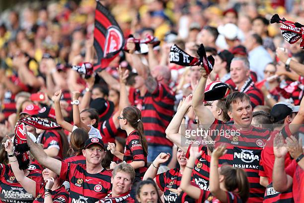 Wanderers fans celebrate a goal during the round 16 ALeague match between the Central Coast Mariners and the Western Sydney Wanderers at Central...